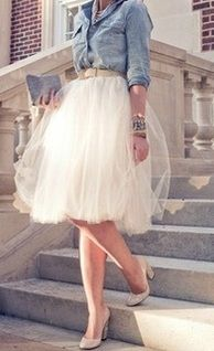 tulle skirt and jean shirt this would be so cute for a country wedding. Wear with cowboy boots.