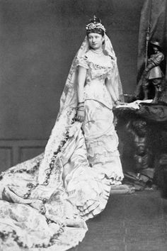 1881 Empress Auguste Viktoria as a bride.  She was the last Empress of Prussia, wife of Kaiser Wilhelm II.