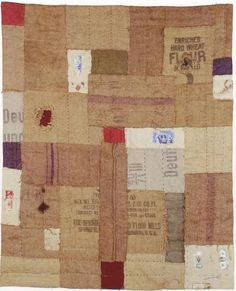 patchwork made from French grain sacks
