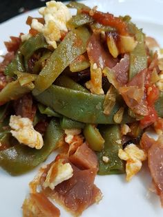 JUDÍAS SALTEADAS CON JAMÓN Y TOMATE CBF@ Kung Pao Chicken, Dory, Diet Recipes, Salads, Food And Drink, Meals, Cooking, Healthy, Ethnic Recipes