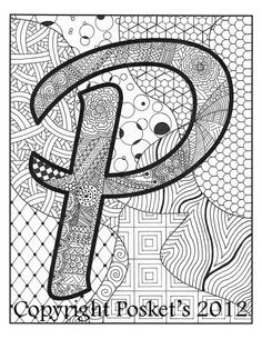 printed Zentangle Letter P Monogram / / Art Print / / 8 x 10 Doodle Alphabet, Doodle Art Letters, Letter Art, Zantangle Art, Zentangle Patterns, Zentangles, Doodle Art Drawing, Art Corner, Coloring Book Pages
