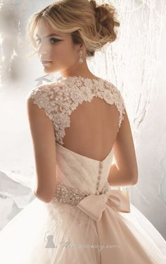 Embellished Pleated Strapless Gown by Bridal by Mori Lee #bride #wedding #back ♥