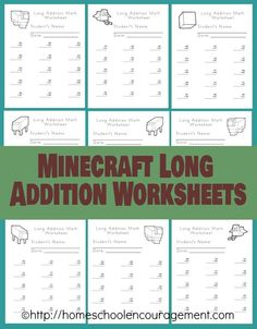 Free Minecraft Printables -  it's minecraft math with these long addition minecraft worksheets - so fun! Learning with Minecraft. Homeschooling with Minecraft.