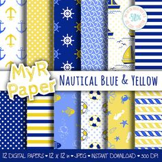 "Digital Paper Pack: ""Nautical Blue & Yellow"" #patterns and backgrounds with anchor, rudder, sailboat, fish, seawaves. Digital Scrapbooking  50% OFF ON ORDERS OVER 12 $ (OR N... #design #graphic #digitalpaper #scrapbooking"