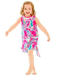 Start her wardrobe off right with the Lilly Pulitzer Little Lilly Classic Shift Dress in Dragonfruit Pink Toucan Can. The lace trim, patch pockets, side bows, and back zip make it too cute to pass up.