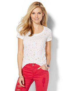 Shop Scoopneck Tee - Burnout Star . Find your perfect size online at the best price at New York & Company.