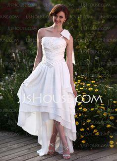 Vestidos de novia - $156.99 - Corte A/Princesa Un sólo hombro Asimétrico gasa Vestido de novia con Volantes Bordado (002025638) http://jjshouse.com/es/Corte-A-Princesa-Un-Solo-Hombro-Asimetrico-Gasa-Vestido-De-Novia-Con-Volantes-Bordado-002025638-g25638