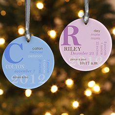 Personalized Baby Christmas Ornaments - This design is so cool! It incorporates the baby's name, birth date, weight, length, birth time and parent's names and it comes in 6 different color combos! Great Christmas Gift idea ... it can be used as a gift tag, too! (on sale now for only $10.35!) #Christmas #Ornament #Baby