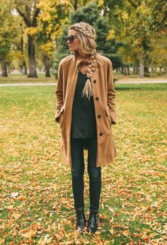 Love everything about this look- Camel Long Line Coat