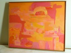 Vintage1960s ABSTRACT OIL PAINTING on CANVAS, COLORIST Mid Century Modern Signed #Expressionism