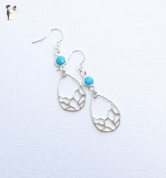 Sterling Silver Turquoise Bezel Earrings with Mosaic Drops - Wedding earings (*Amazon Partner-Link)