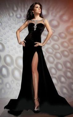Sexy Black Velvet Mermaid Long Prom Dress Wedding Bridal Party Dess Pageant Gown