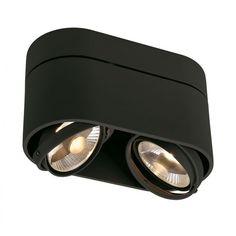 SLV Kardamod Surface Round Es111 Double Zwart 2xgu10 | plafond-lamp-spot