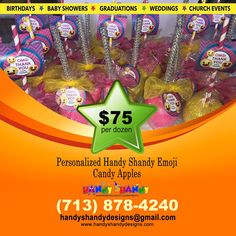 🍭🍭 Personalized Handy Shandy Emoji Candy Apples!! 🍭 🍏 Keep It Handy and Order now for only $75 per dozen. Call (713) 878 – 4240 or Email handyshandydesigns@gmail.com for details!! 🍬🍬 #HandyCandy #CandyApple