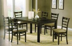 7pc Dining Table & Chairs Set in Espresso Finish