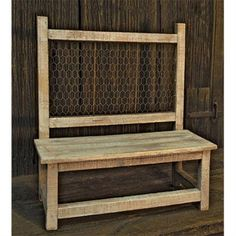 Weathered Bench with Chicken Wire Accent - Country Rustic Primitive Doll Chair Shelf CWI http://www.amazon.com/dp/B00UF3GNRQ/ref=cm_sw_r_pi_dp_0gqexb1NXH85E