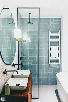 Modern Farmhouse, Rustic Modern, Classic, light and airy master bathroom design a few ideas. Bathroom makeover ideas and master bathroom renovation suggestions. Wet Rooms, Bathroom Interior Design, Bathroom Designs, Restroom Design, House Design, Home Decor, Bathroom Small, Bathroom Sinks, Small Wet Room