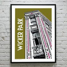 WICKER PARK Chicago Neighborhood Poster