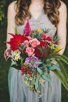 I'm just in love with these rich, colorful autumn bouquets