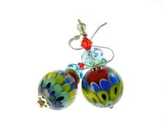 Autism Earrings, Red Yellow Blue Flower Earrings, Lampwork Glass Earrings, Glass Bead Jewelry