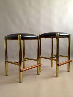 Regency Era Brass Stools -Milo Baughman Karl Springer Maison Jansen Billy Haines -Black Faux Ostrich Skin Seats