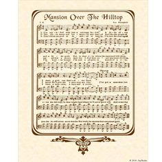 MANSION OVER The HILLTOP  8x10 Antique Hymn Art by VintageVerses