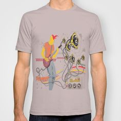 GuitarMan Sound Space T-shirt by maxvision Cinder, Space, Medium, Tees, Fitness, Mens Tops, T Shirt, Stuff To Buy, Fashion