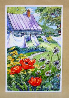 Thanks to Wood Aplin, her red roof board introduced me to this charming art work. Cute Cottage, Cottage Art, Painted Cottage, Vintage Illustration Art, Watercolor Illustration, Watercolor Landscape, Watercolor Art, Storybook Cottage, Pintura Country