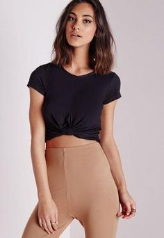 Knot Front Capped Sleeve Crop Top Black