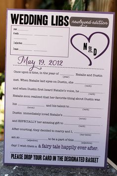 Wedding Libs - pull one at random for a gift card/ first go at dessert table instead of throwing bouquet?