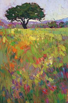 This limited edition print of Wildflower Hill captures the texture and movement of the original oil painting by Erin Hanson. The print comes in a