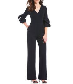 Donna Morgan VNeck Bow Detail Ruffle Sleeve Jumpsuit #Dillards