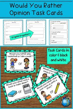 Opinion would you rather task cards. Great for speaking and writing practice. Pictures will help ELLs with vocabulary. #taskcards #opinionwriting #esl #esol #speaking