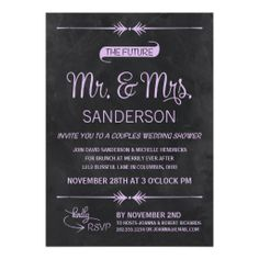 Chalkboard Couples Wedding Shower Personalized Invites