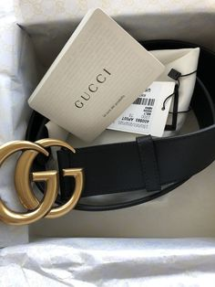 c900e713503 New Womens Gucci Double GG Gold Brass Belt Black Size 34 Inches Or 85 Cm
