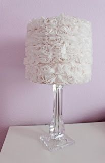 DIY easy Lamp Shade using rosette trim from fabric store