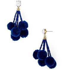 (affiliate) I wasn't sure at first, but now I love these bauble, pom pom earrings with the marble stud Blue Earrings, Diy Earrings, Earrings Handmade, Handmade Jewelry, Fashion Earrings, Tassel Jewelry, Fabric Jewelry, Beaded Jewelry, Jewellery