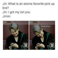 Jin's dad jokes strikes again! Jimin's adoribal laugh slays us all! Kookie Bts, Bts Jin, Bts Bangtan Boy, Jimin, Jikook, Seokjin, Jin Dad Jokes, Cypher Pt 4, About Bts