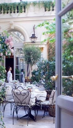 Ralph Lauren's Restaurant (Bd St Germain, Paris) , in The Ritz Hotel courtyard, Paris
