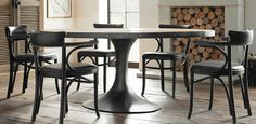 Aero Round Dining Table | Restoration Hardware (logs for my living too!)