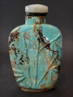 Antique Chinese Carved Turquoise Stone Snuff Bottle | eBay