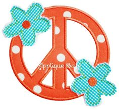 337 Raggy Flower Peace Sign Machine Embroidery Applique Design on Etsy, $4.00
