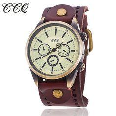 >> Click to Buy <<  CCQ Creative Men Fashion Casual Quartz Men Retro Three Big Dial Bracelet Watch RetroThree Eyes #Affiliate