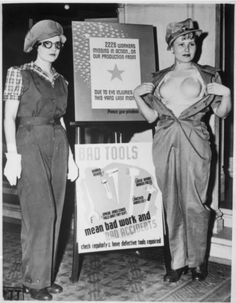 """""""Safety garb for women workers. The uniform at the left, complete with the plastic """"bra"""" on the right, will prevent future occupational accidents among feminine war workers. Los Angeles, California. Acme, ca. 1943″"""