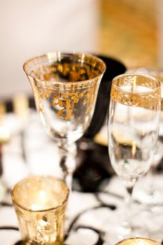 The first sip (and look) isn't soon forgotten with this Gold Leaf glass. (POSH Couture)