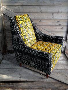 Danish mid-century chair in African attire. $1,200.00, via Etsy.