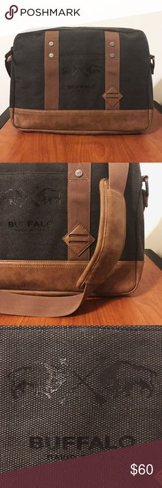 """Buffalo David Bitton Messenger Bag Buffalo David Bitton Canvas & Leather Messenger Bag with padded adjustable shoulder strap. Never used. New With Tags. Fits MacBook Pro 13"""" with laptop sleeve and room to spare. Buffalo David Bitton Bags Messenger Bags"""