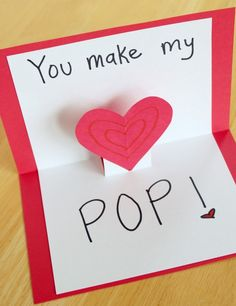 Heart Pop Up Cards – There are so many ways to create a pop up card. If you have the supplies ready, the kids can come up with what ever they'd like to add to make a pop.