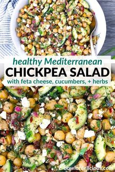 This chickpea salad with feta, cucumbers, sun dried tomatoes, and herbs is packed with healthy Mediterranean flavor, and it only takes 10 minutes! It's the perfect light vegetarian main or side (vegan optional). Mediterranean Chickpea Salad, Make Ahead Salads, Beet Salad, Cold Meals, Dried Tomatoes, Healthy Salad Recipes, Sun Dried, Food Inspiration, Feta