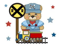 "Bear Train Conductor Wall Mural for baby boy nursery or kids room decor - measures 16.5""(41.91cm) Tall and 21""(53.34cm) Wide #decampstudios"
